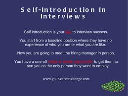 Interview Introduction Self Introduction In Interviews