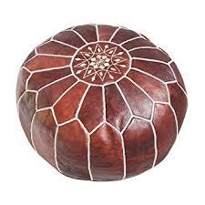 <b>Handmade</b> Dark <b>Brown</b> Tobacco poufs Moroccan Leather <b>Pouf</b> ...