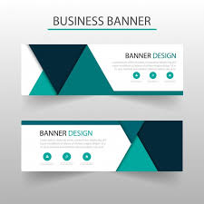 banner design template banner template with turquoise triangles geometric style vector