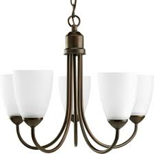 progress lighting gather collection 5 light antique bronze chandelier with shade p4441 20 the home depot