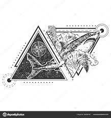 тату акула геометрия вектор геометрические акула татуировки или
