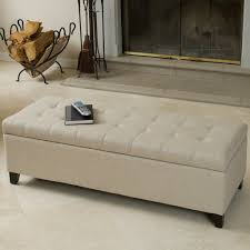 best ing mission tufted fabric storage ottoman bench beige