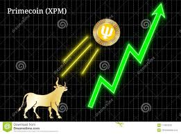 Bullish Primecoin Xpm Cryptocurrency Chart Stock Vector