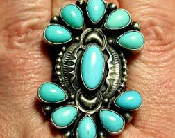 kathleen chavez gem turquoise sterling silver 925 navajo native american ring size 9