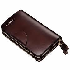 Teemzone <b>Men's Genuine</b> Leather Business <b>Zipper</b> Closure Clutch ...