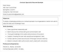 Career Objective For Experienced Resume Resume Objective Or Summary This Is Contract Specialist Resume 83