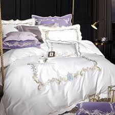 pink purple white grey luxury egyptian cotton queen king size bedding set oriental embroidery quilt