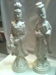oriental statues vintage pair man and woman white ceramic figurines asian garden ornaments uk