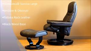 ekornes chair parts. stressless sunrise large recliner and ottoman in paloma rock leather black wood base by ekornes - youtube chair parts