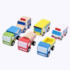 wooden car toys pull back car multi pattern creative mini wooden toys for children random
