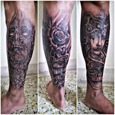 Tattoo Uploaded By Kayzee Fernandez Lower Leg Skull Time