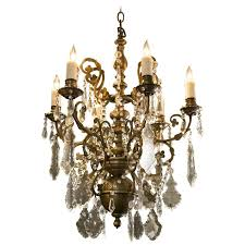 pewter colored crystal chandelier with six arms from belgium circa 1930 for