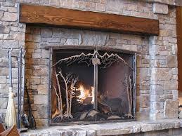 fireplace screen at suncadia resort metal cattails