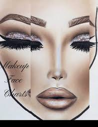 Makeup Artist Eye Charts Makeup Face Charts The Blank Workbook Paper Practice Face