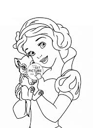 Disney Princess Coloring Sheets Image Ideas Belle With Cat Page For