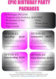 birthday parties oceanside gymnastics cheerleading and click here birthday packages contract