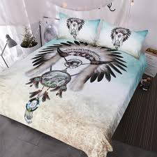 wolf dreamcatcher bedding set indian feather beads boy western bedclothes gray teal blue duvet cover bedding king duvet sets from bluesky11