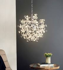 silver metal and crystal starburst small chandelier by jainsons emporio