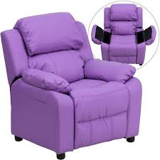 purple furniture. Deluxe Heavily Padded Contemporary Lavender Vinyl Kids Recliner With Storage Arms BT-7985-KID Purple Furniture