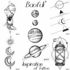 25 дизайн вселенной временные боди арт татуировки космических планет карандаш