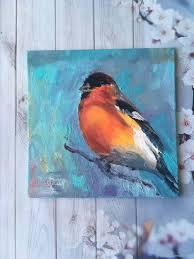 order oil painting birds bullfinch artshipilina livemaster