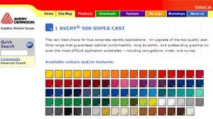 Avery 900 Supercast Colour Chart Instant Colour Impressions Online For Avery Graphics Films