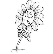 Small Picture Cartoon of Angry Daisy Flower Coloring Page Download Print