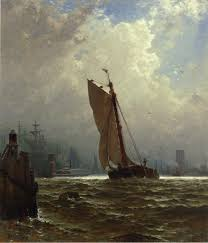 new york harbor with the brooklyn bridge under construction by alfred thompson bricher art