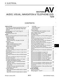 2004 nissan armada audio visual system section av pdf manual 2004 nissan armada audio visual system section av 176 pages