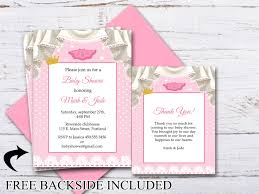 baby girl invite custom baby shower invitation thank you card baby girl invite