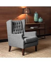 gray wingback chair. Maxwell Gray Tufted Wingback Chair (.), Grey (Fabric) P