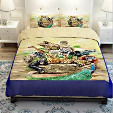 tiger lion monkey giraffe zebra pea elephant zoo bedding sets twin queen king size 3d animal print quilt cover bed sheets in bedding sets from home