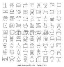 pattern furniture. Furniture Icons, Design, Vector Symbol, Home Decor Thin Line Pattern