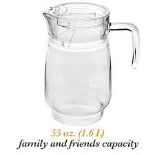 7 cups clear glass pitcher with lid and