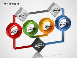 3d Flow Chart Powerpoint 3d Flow Charts With Circles Presentation Template For