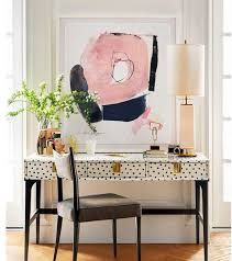 funky office interiors. Funky Poka Dot Desk Abstract Pink Black And White Framed Wall Painting Artwork Nook Space Modern Home Office Interiors