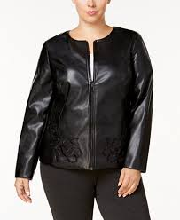 leather jackets plus size alfani plus size floral embroidered faux leather jacket created for