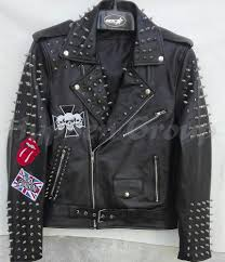 details about mens full black silver spiked studded punk patches brando cowhide leather jacket