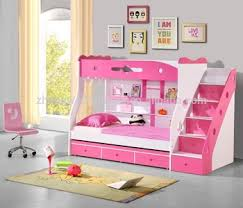 Rose Red Pink Double Bunk Bed With Ladder Staircase Buy Double
