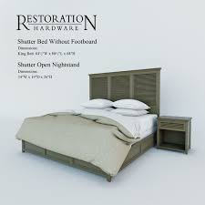bed without footboard. Interesting Without Restoration Hardware Shutter Bed Without Footboard 3d Model Max Fbx  Unitypackage Prefab 1 Inside Bed Without Footboard