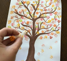 ... Bundled Q-tip autumn tree painting