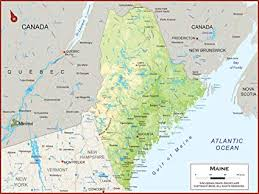 Amazon Com 60 X 45 Giant Maine State Wall Map Poster With