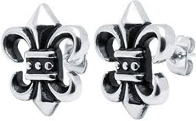 Soul-Cats® Studs French Lily <b>Fleur de</b> Lys metal <b>noble royal</b> steel ...
