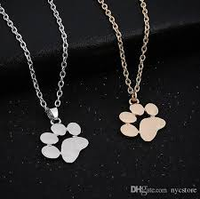 whole whole cute animal dog paw small pendant necklace accessories gold silver women s jewelry silver pendants silver necklace chain from nyc