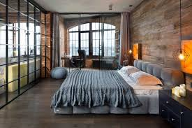 Bedroom : Stunning Bachelor Bedroom With Grey Low Profile Bed And Black  Nightstand Also Vintage Hanging Lamp And Round Grey Knitted Ottoman Near  Home Office ...