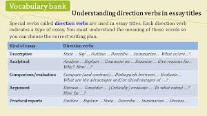 unit mental disorders popular myths skills focus reading  special verbs called direction verbs are used in essay titles