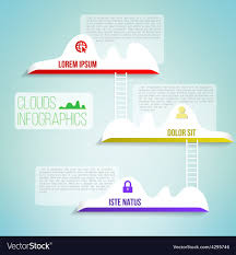 Simple Info Graphics Clouds With The Ladder Simple Clean Infographics Vector Image