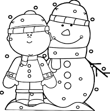 Small Picture Boy With Snowman In The Snow Coloring Page Wecoloringpage