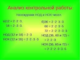 Основное свойство дроби Математика класс Учитель Гончаров О Н  Анализ контрольной работы а 12 2 ∙2 ∙3 18 2