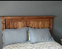 Solid Wood Headboard   headboard   Rustic headboard   Rustic modern    bedroom furniture   Queen